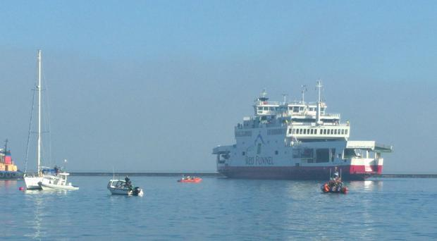 MANDATORY CREDIT: @thetony_howard Handout photo taken with permission from the Twitter account of @thetony_howard of a Red Falcon Ferry that reportedly collided with at least two yachts while trying to berth at the entrance of Cowes Harbour during heavy fog.