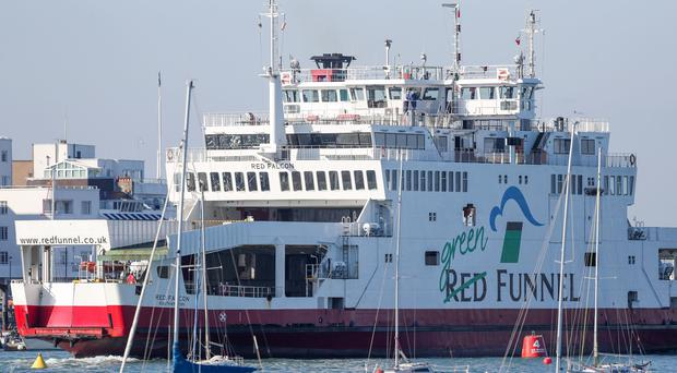 The Red Funnel car ferry, Red Falcon, which earlier collided with several small boats, leaves East Cowes on the Isle of Wight bound for Southampton (Andrew Matthews/PA)