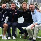 The Duke of Sussex with (left to right) Team UK Invictus competitors Jonathan Mitchell and David Morris and BBC Invictus Games 2018 presenter JJ Chalmers (BBC)
