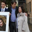 Nadim and Tanya Ednan-Laperouse with their son Alex outside West London Coroner's Court (Jonathan Brady/PA)