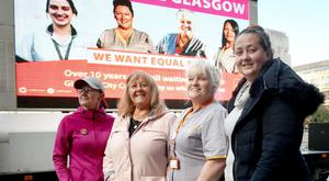 Glasgow city council workers calling for equal pay (Jane Barlow/PA)