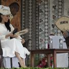 The Duke and Duchess of Sussex attend a welcome ceremony at Albert Park in Suva (Ian Vogler/Daily Mirror/PA)