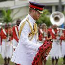 The Duke of Sussex laid a wreath at the Suva War Memorial in Fiji (AP Photo/Kirsty Wigglesworth)