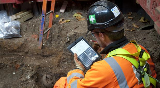 Skeletons uncovered at St James's burial ground in London (HS2)