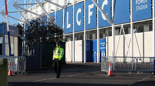 The helicopter crashed outside Leicester City's King Power Stadium (Aaron Chown/PA)