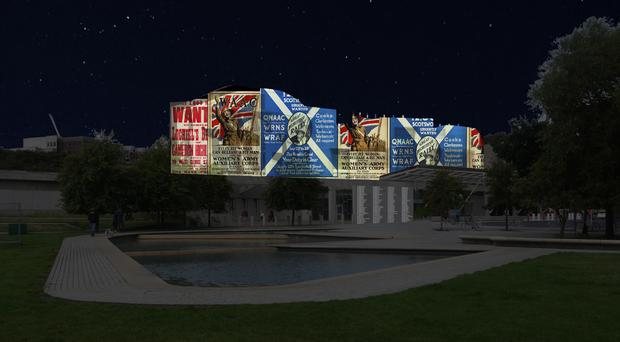 A computer-generated preview of the projections on the Scottish Parliament (Scottish Government/PA)