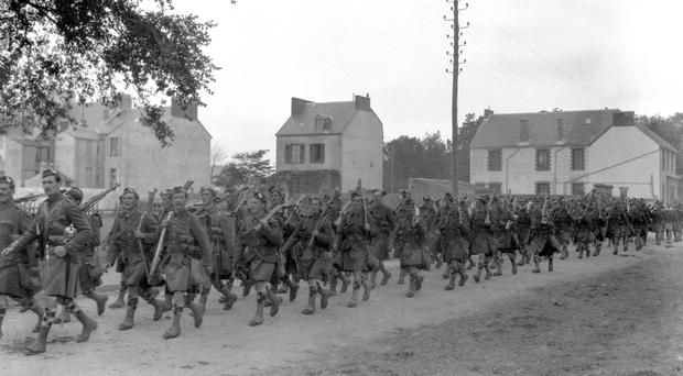 British troops on the march in France during the First World War (PA)