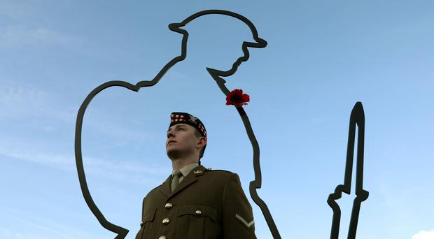 A tribute to First World War soldiers at the Scottish Parliament (Andrew Milligan/PA)