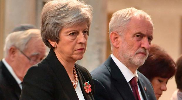 Prime Minister Theresa May and Labour leader Jeremy Corbyn at a Service of Remembrance in St Margaret's church in Westminster yesterday