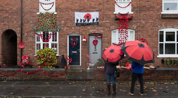 Station Road in Walsall decorated with poppies (Aaron Chown/PA)