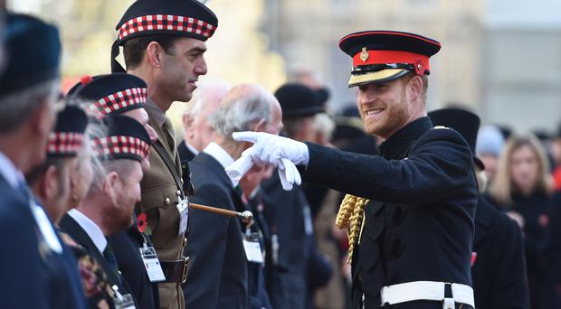 The Duke of Sussex visited the Field of Remembrance (Jeremy Selwyn/Standard/PA)