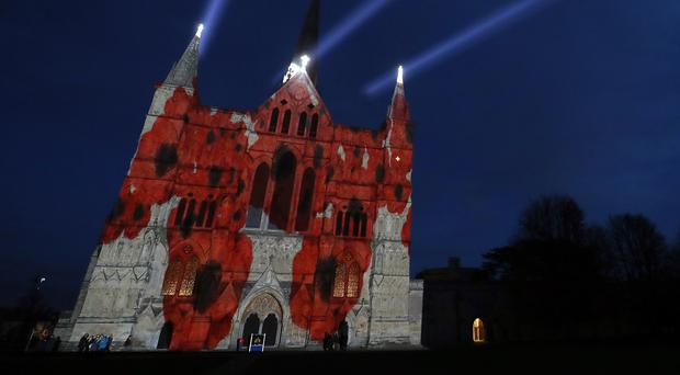 The Royal British Legion's Falling Poppies projection at Salisbury Cathedral (Andrew Matthews/PA)