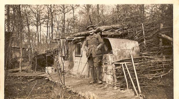 A photograph showing Captain Robert Bennett at Somerset House in Ploegsteert Wood (R. H. E. Bennett/PA)