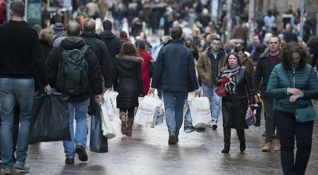 Shoppers in the rundown to Christmas on Buchanan Street in Glasgow city centre.
