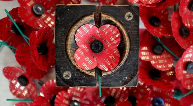 Centenary poppies have been made for the WW1 100-year anniversary commemorations (Jane Barlow/PA)