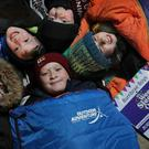 Nine year old mates Robert Hodge, Cole Hood, Ollie Willis, Cosmo MacDougall and Lachlan Johnson get themselves ready for The Wee Sleep Out in the garden in Bonnyrigg.