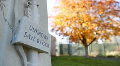 The war memorial outside the visitor's centre at Erlestoke prison in Wiltshire, which was designed by the prisoners themselves, and carved by the stone masons at Salisbury cathedral (Andrew Matthews/PA)