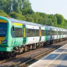 A Southern rail train at Honor Oak Park station, in London.