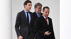 Former White House strategist Steve Bannon (centre) is to speak at the News Xchnage 2018 event (Stefan Rousseau/PA)