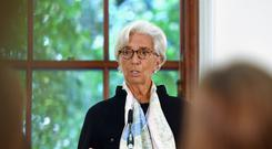 International Monetary Fund (IMF) managing director Christine Lagarde at a press conference to mark the publication of the 2018 Article IV assessment of the UK at the Treasury in central London.