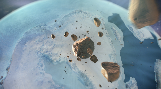 An artist's depiction of the iron meteorite hurtling through space before impacting innorth-west Greenland (Cardiff University)