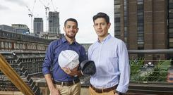 Nicolas Orellana, 36, and Yaseen Noorani, 24, who have designed a wind turbine to generate electricity in large cities, which has won this year's international James Dyson Award (Dyson/PA)