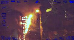 National Police Air Service footage of the fire (Grenfell Tower Inquiry/PA)