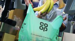 The new compostable carrier bag from Co-op (Neil O'Connor/PA)