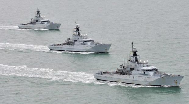Fishery Protection Squadron vessels HMS Severn, HMS Tyne and HMS Mersey on exercise off the coast of Cornwall (MoD/PA)