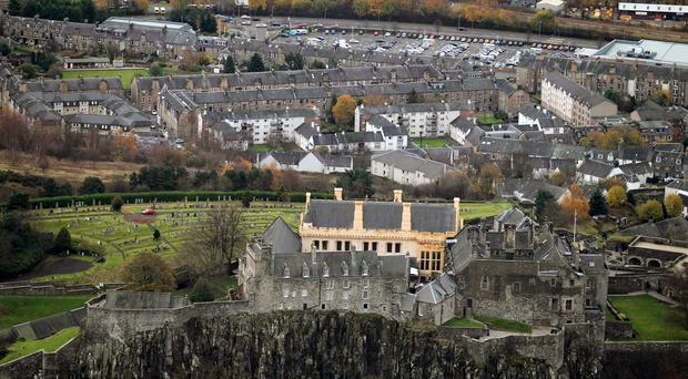 Stirling Castle with the city of Stirling photographed from the air