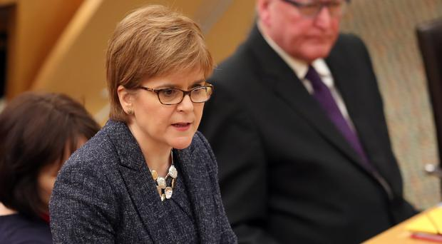 Nicola Sturgeon during First Minister's Questions at the Scottish Parliament in Edinburgh (Jane Barlow/PA).