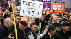 Tommy Robinson takes part in a 'Brexit Betrayal' march (Gareth Fuller/PA)