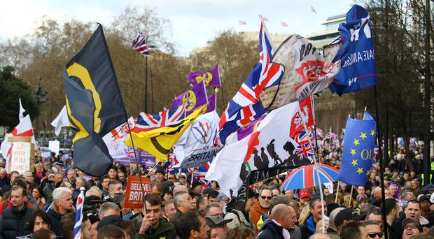 People take part in a Brexit Betrayal march and rally organised by Ukip in central London (Gareth Fuller/PA)