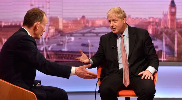 Boris Johnson MP (right) on BBC's Andrew Marr Show yesterday