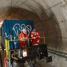 A transport train carrying Crossrail workers (Dominic Lipinski/PA)