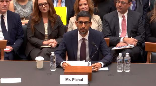 Google chief executive Sundar Pichai speaks to the committee (Judiciary Committee/PA)