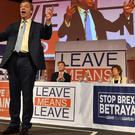 Nigel Farage speaks at a Leave Means Leave rally in central London (John Stillwell/PA)