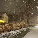 Snow falls in the Scottish Borders as Storm Deirdre hit the British Isles (David Cheskin/PA)