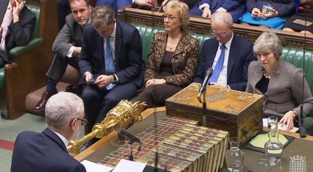 Prime Minister Theresa May listens as Labour leader Jeremy Corbyn responds to her statement about last week's EU summit in the House of Commons, London (House of Commons/PA)