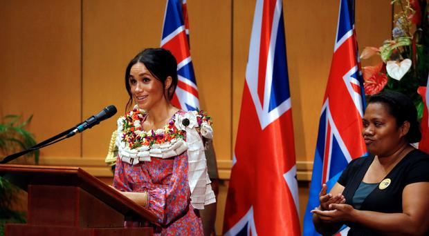 The Duchess of Sussex makes a speech during a visit to the University of the South Pacific in Suva, Fiji (Phil Noble/PA)
