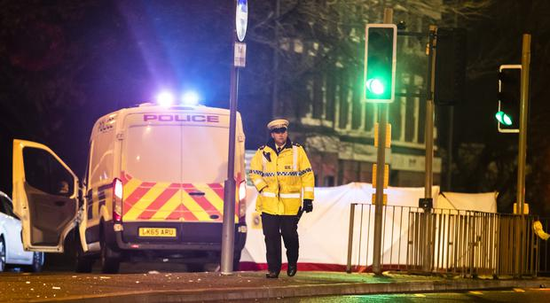 Police at the scene of an accident near the Wallasey Tunnel in Liverpool (Danny Lawson/PA)