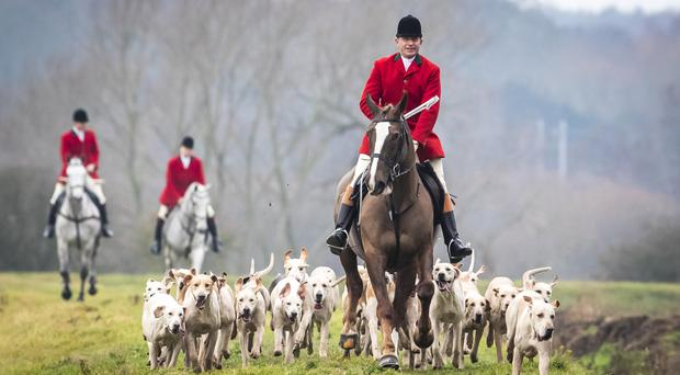 Members of the Grove and Rufford Hunt in Bawtry in South Yorkshire met for one of the UK's traditional Boxing Day hunts (Danny Lawson/PA)