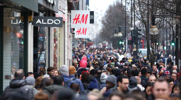 Shoppers on Oxford Street, London, during the Boxing Day sales.