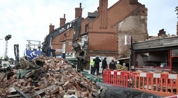 Emergency personnel at the scene on Hinckley Road in Leicester (Aaron Chown/PA)
