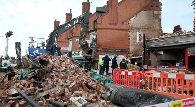 The aftermath of the explosion at Hinckley Road