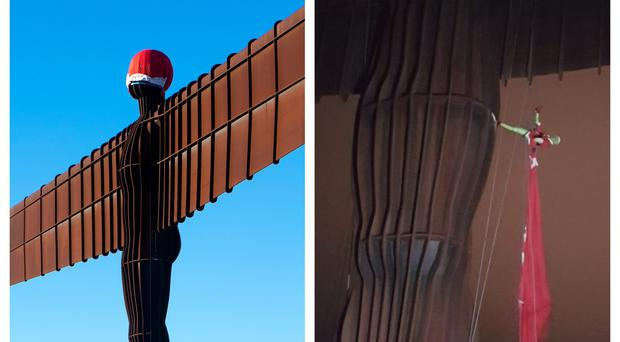 The Angel of the North, left, wearing the hat, and, right, being taken down by a man dressed as the Grinch.