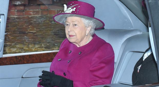 Queen Elizabeth II leaves after attending a church service at St Mary Magdalene Church in Sandringham (Joe Giddens/PA)