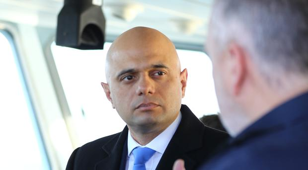 Home Secretary Sajid Javid meeting Border Force staff on board HMC Searcher in Dover, Kent on Wednesday (Gareth Fuller/PA)