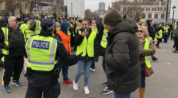 The yellow vests protest in London was staged in support of Brexit (handout/PA)