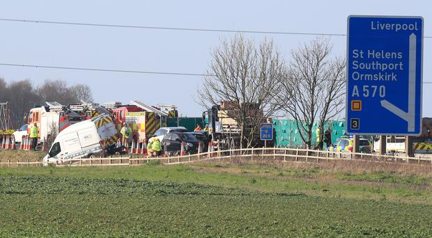 The scene of the crash on the M58 (Peter Byrne/PA)